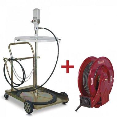 Set pompe graisse + enrouleur pour tuyau + 2 raccords