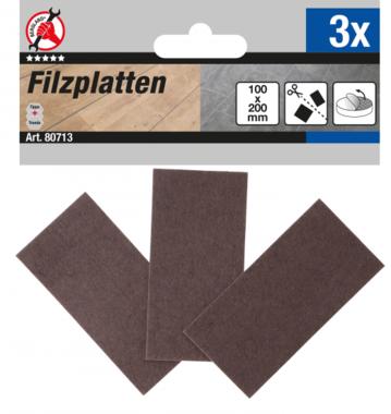 Patin en feutre plaques brun 100 x 200 mm 3 pieces