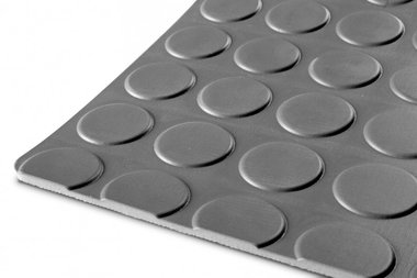 Caoutchouc en rouleau type pastilles, gris clair