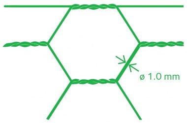 Maille hexagonale Avigal PVC 25x1.0 75 cm x 25 m