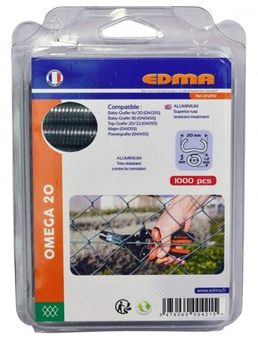 Edma courbes annulaires Omega 20 mm aluminium 1000 pieces