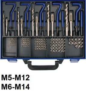Kit de reparation de filets M5 - M12 - 130 pieces