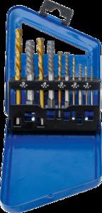 Jeu dextracteurs de vis & forets a gauche HSS traitement au nitrure de titane 2 - 7,5 mm 10 pieces