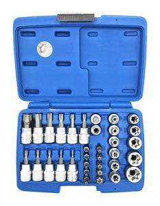 Jeu d'embouts et de clés à douille (3/8) profil Torx 34 pièces