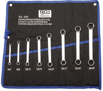Ensemble a douille double a 8 pieces, extra plat, 6-22 mm