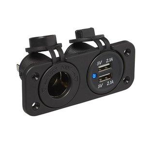 Kit de montage encastré: prise DIN + Prise-USB double 2x2100mA